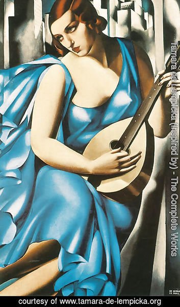 Tamara de Lempicka (inspired by) - Lady in Blue with Guitar, 1929