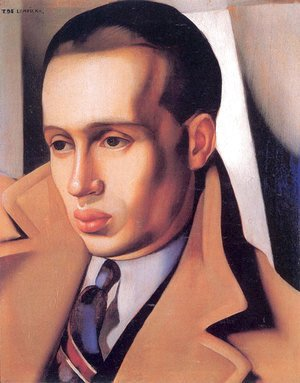 Tamara de Lempicka (inspired by) - Portrait of a Man with His Collar Turned Up, c.1931