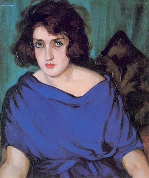 Tamara de Lempicka (inspired by) - Portrait of a Young Lady in a Blue Dress, 1922