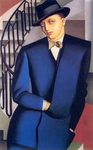 Tamara de Lempicka (inspired by) - Portrait of the Marquis d'Afflito (On a Staircase), 1926