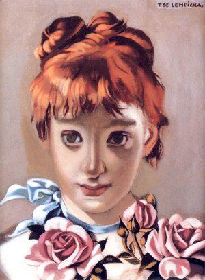 Tamara de Lempicka (inspired by) - Redheaded Girl and Garland of Roses, c.1944