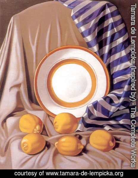 Tamara de Lempicka (inspired by) - Still Life with Lemons and Plate, c.1942