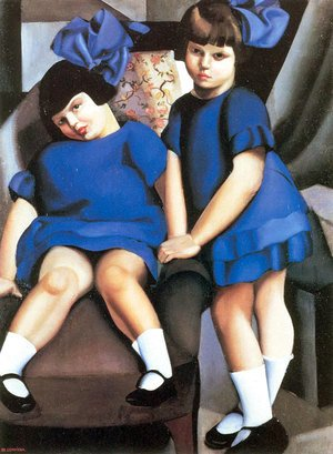 Tamara de Lempicka (inspired by) - Two Little Girls with Ribbons, 1925
