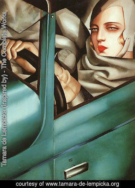 Tamara de Lempicka (inspired by) - Self-Portrait in the Green Bugatti