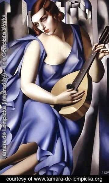 Tamara de Lempicka (inspired by) - Blue Woman with a Guitar (Femme bleu a la guitare)